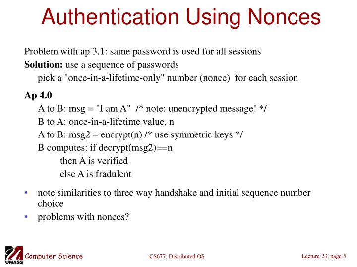 Authentication Using Nonces