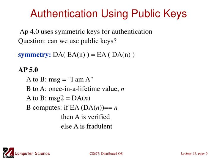 Authentication Using Public Keys