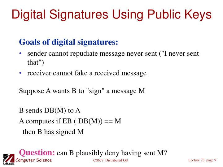 Digital Signatures Using Public Keys