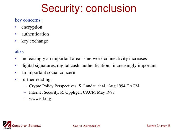 Security: conclusion