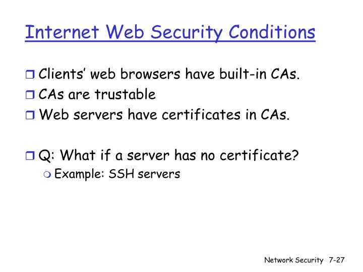 Internet Web Security Conditions