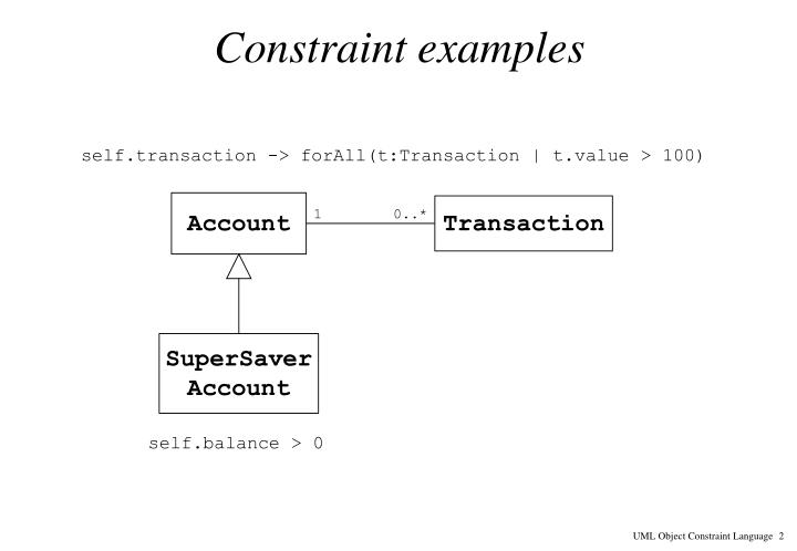 Constraint examples