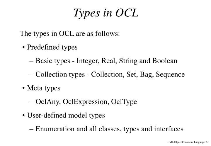 Types in OCL