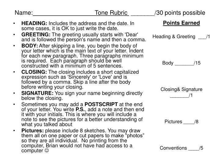 Name tone rubric 30 points possible