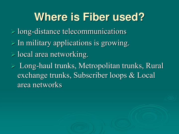 Where is Fiber used?
