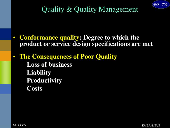 Quality & Quality Management
