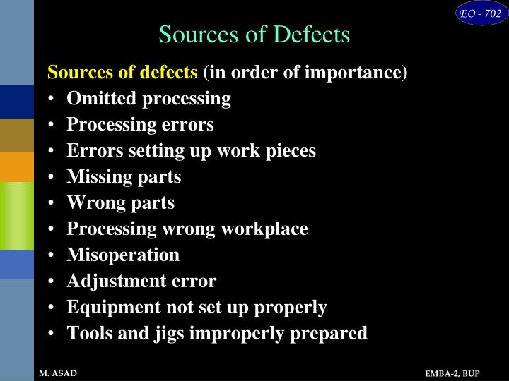 Sources of Defects