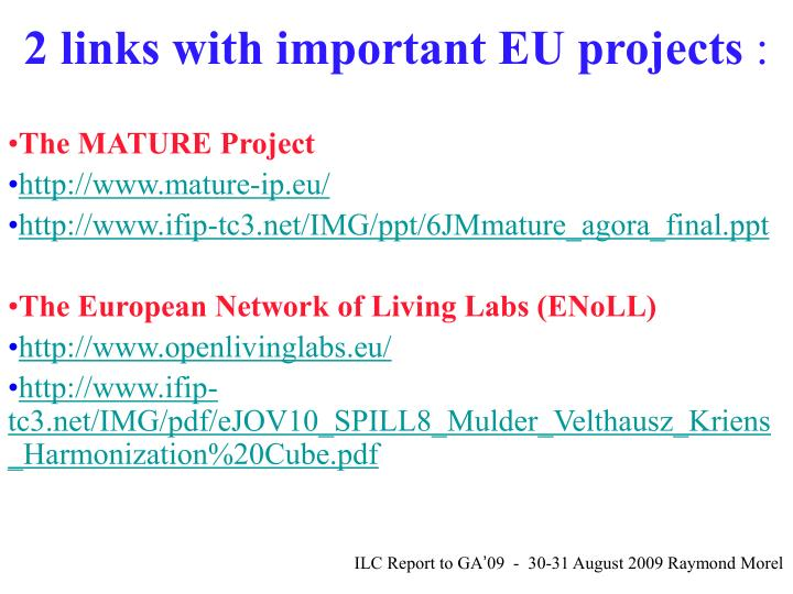 2 links with important EU projects