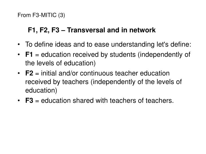F1, F2, F3 – Transversal and in network