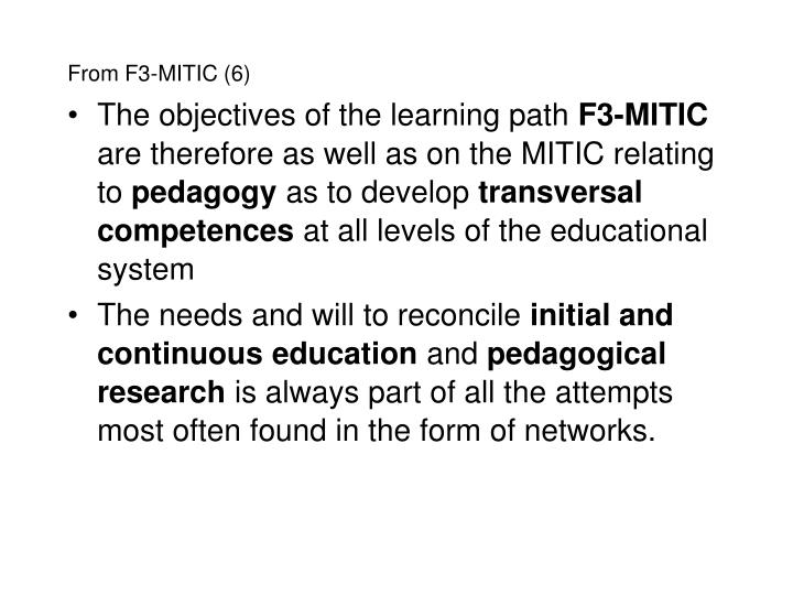The objectives of the learning path
