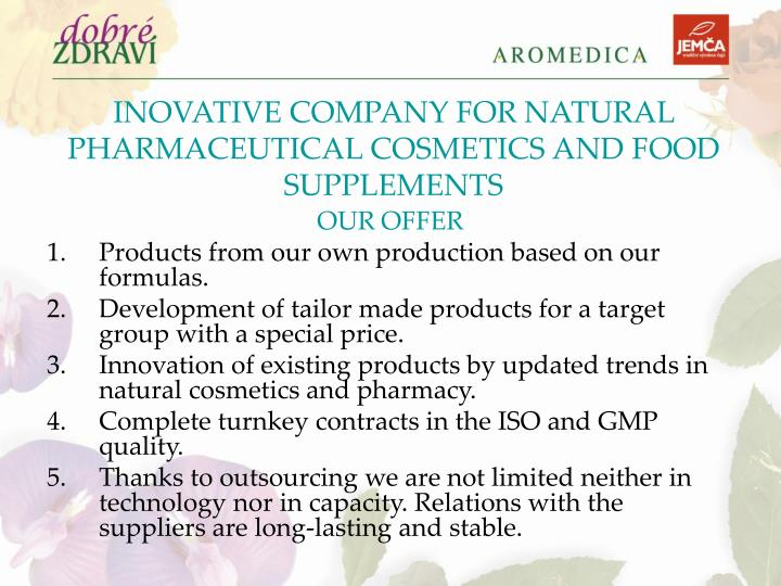 INOVATIVE COMPANY FOR NATURAL PHARMACEUTICAL COSMETICS AND FOOD SUPPLEMENTS