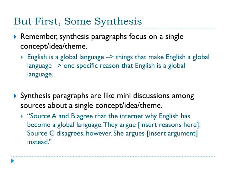 paragraphs of sythesis