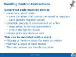handling control abstractions