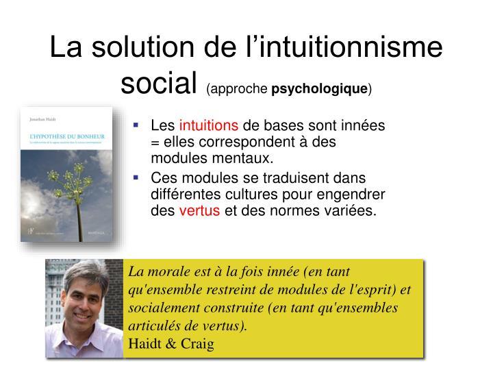 La solution de l'intuitionnisme social