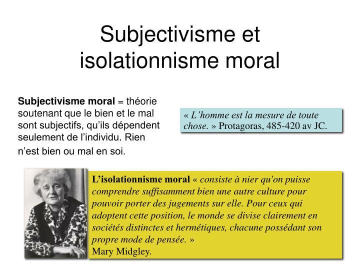 L'isolationnisme moral