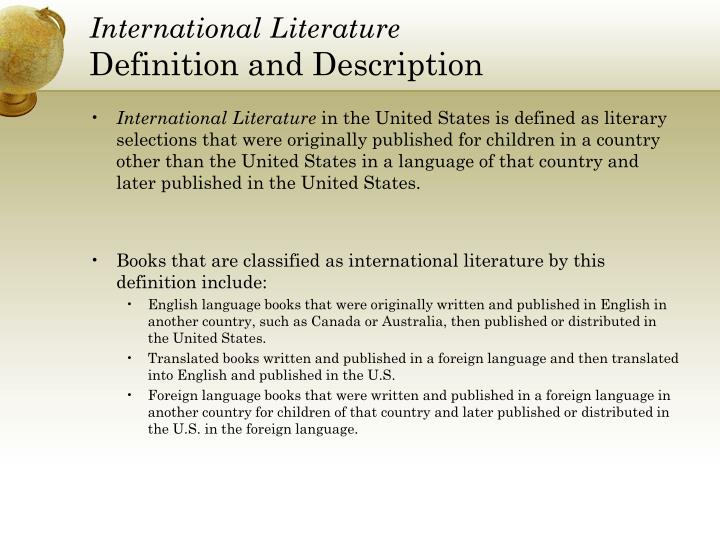 International literature definition and description