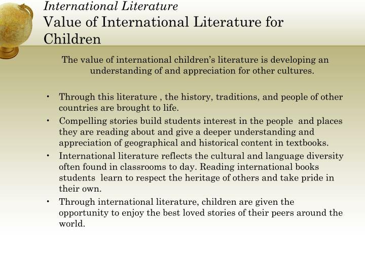 International literature value of international literature for children