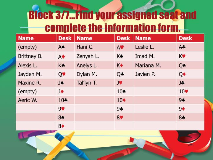 Block 3 7 find your assigned seat and complete the information form