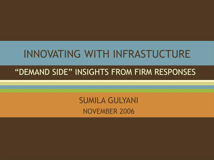innovating with infrastucture n.