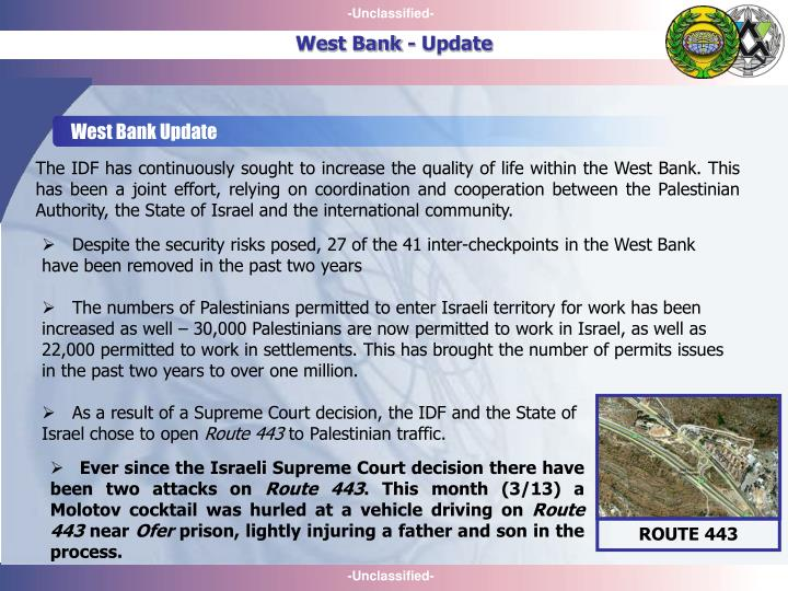 West Bank Update