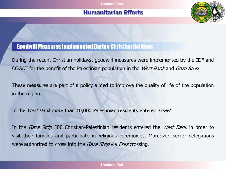 Goodwill Measures Implemented During Christian Holidays
