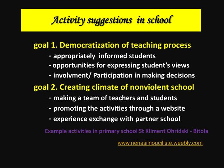 Activity suggestions  in school
