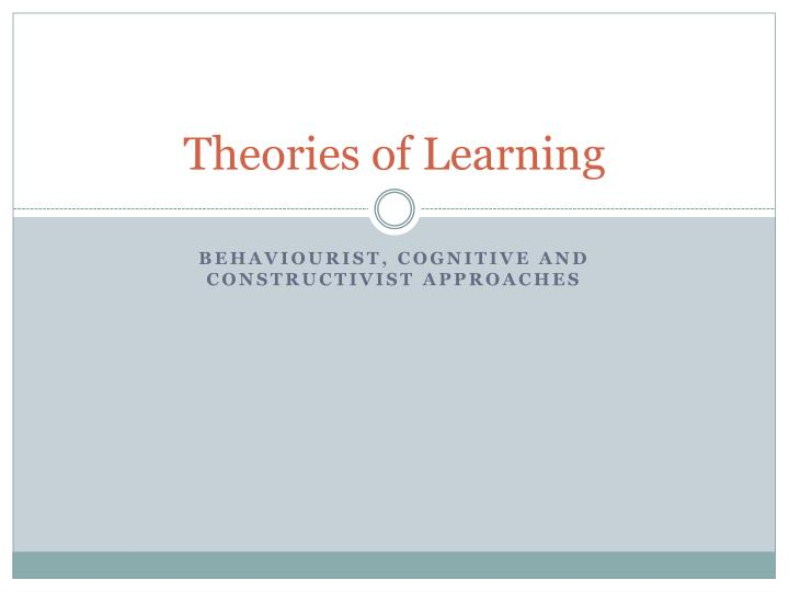 theories of learning n.