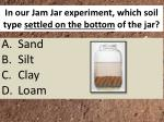 in our jam jar experiment which soil type settled on the bottom of the jar
