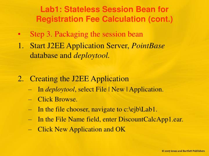 Lab1: Stateless Session Bean for Registration Fee Calculation