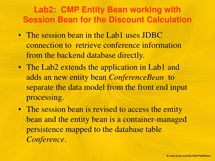 Lab2:  CMP Entity Bean working with Session Bean for the Discount Calculation