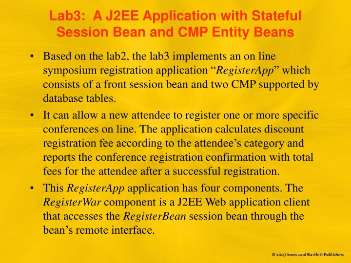 Lab3:  A J2EE Application with Stateful Session Bean and CMP Entity Beans