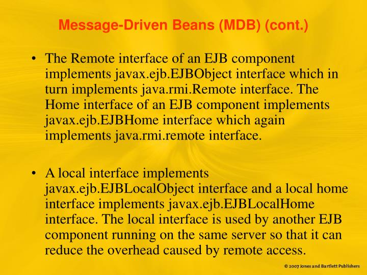 Message-Driven Beans (MDB) (cont.)
