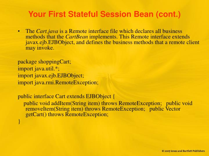 Your First Stateful Session Bean (cont.)