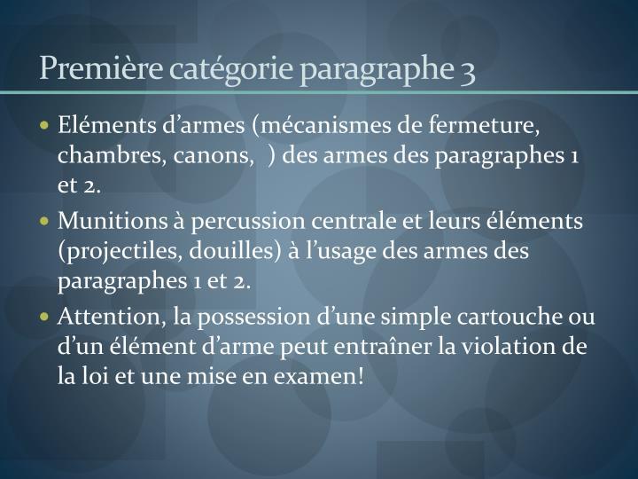 Première catégorie paragraphe 3