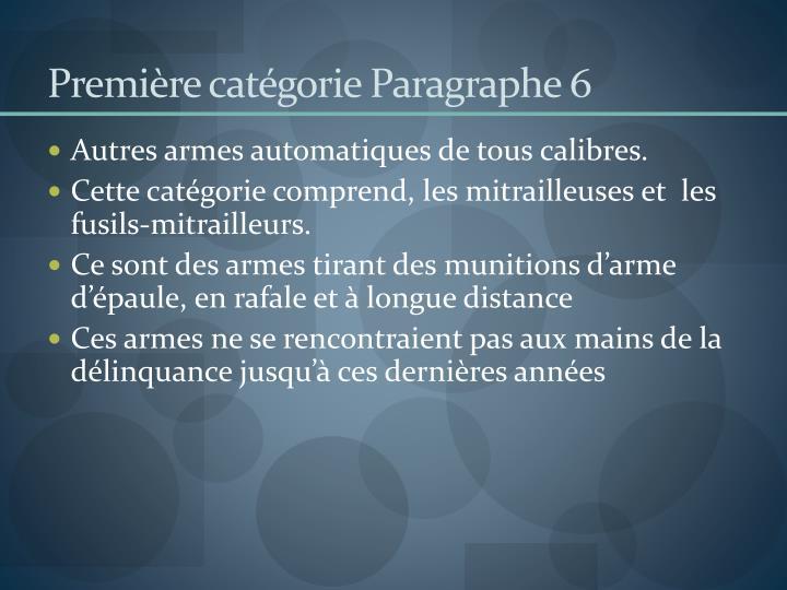 Première catégorie Paragraphe 6