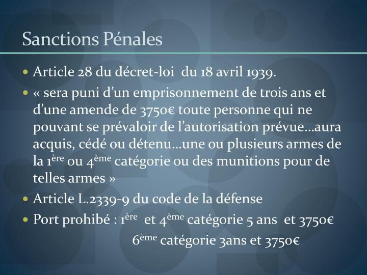 Sanctions Pénales