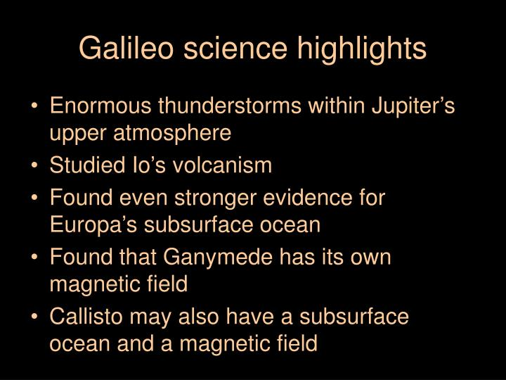 Galileo science highlights