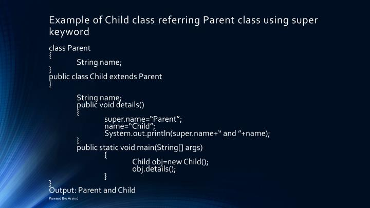 Example of Child class