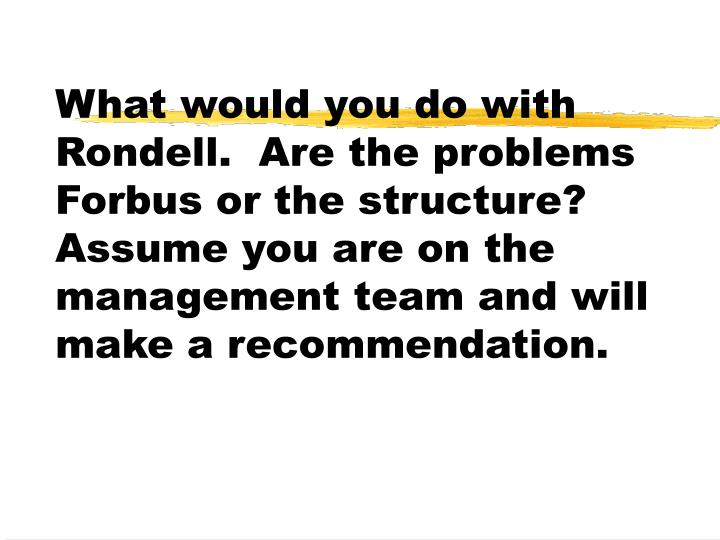 What would you do with Rondell.  Are the problems Forbus or the structure?  Assume you are on the management team and will make a recommendation.