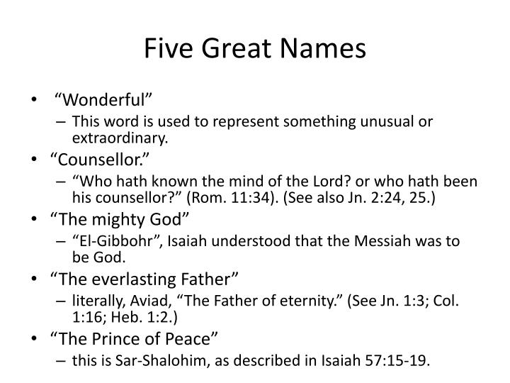 Five Great Names