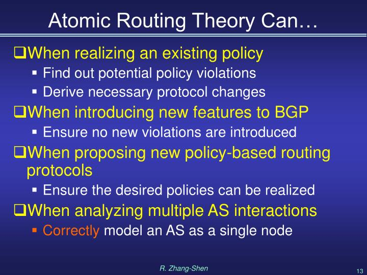 Atomic Routing Theory Can…