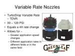 variable rate nozzles