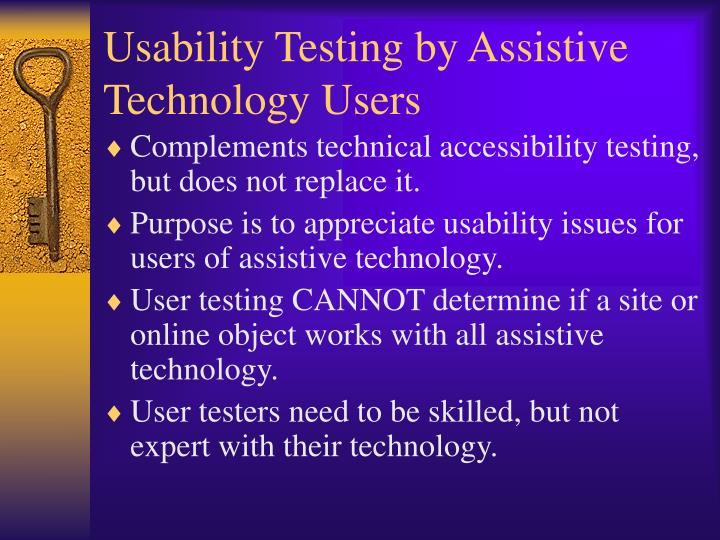 Usability Testing by Assistive Technology Users