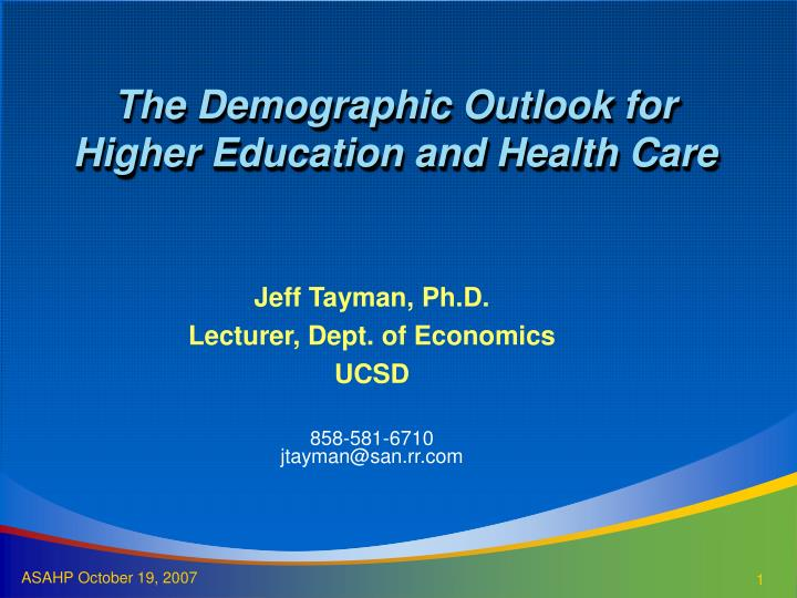 the demographic outlook for higher education and health care n.