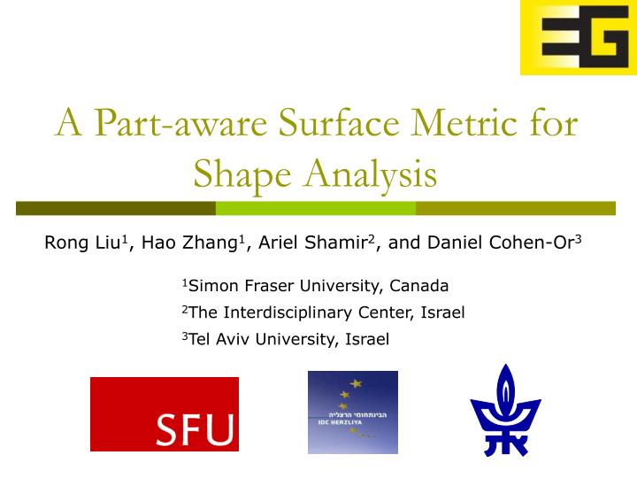A part aware surface metric for shape analysis