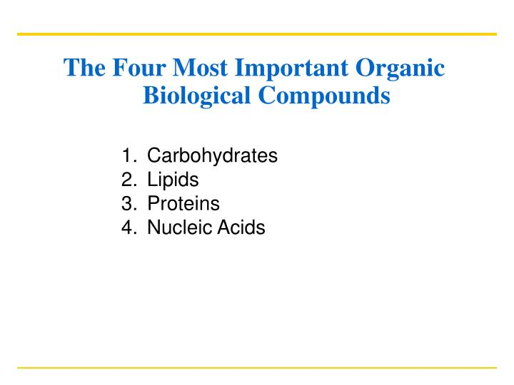 The Four Most Important Organic Biological Compounds