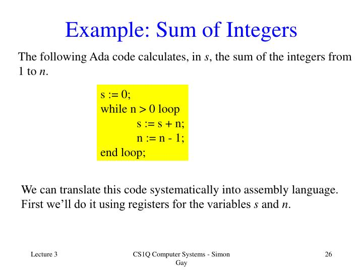 Example: Sum of Integers