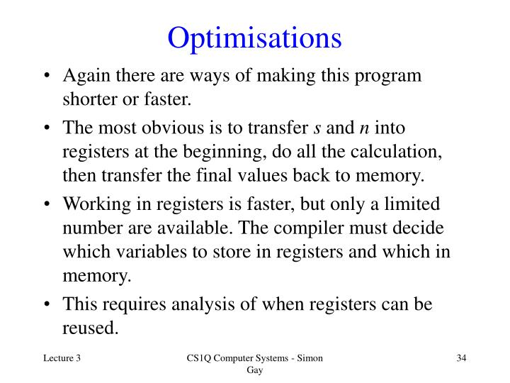 Optimisations