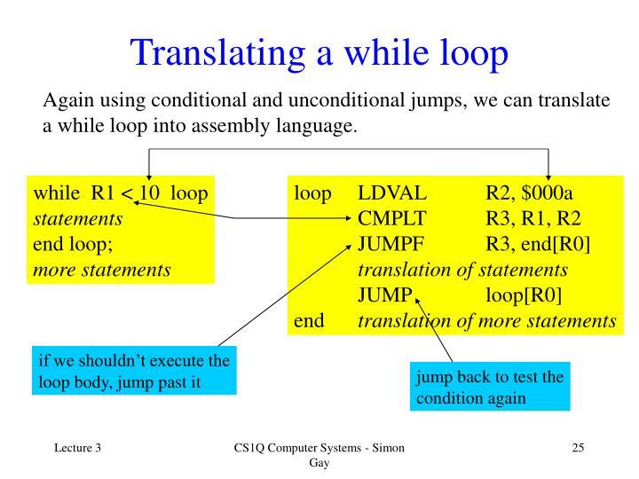 Translating a while loop