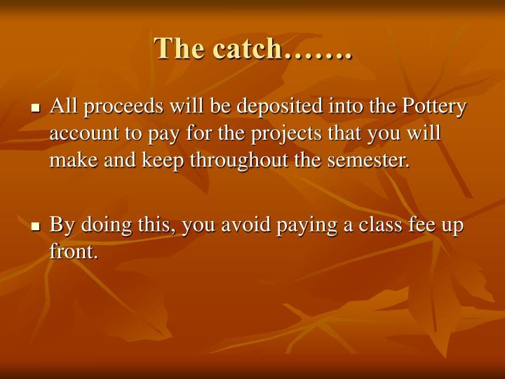 The catch…….
